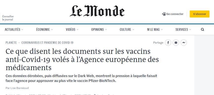 法媒:辉瑞疫苗因政治压力通过审批,曾致23名接种老人死亡