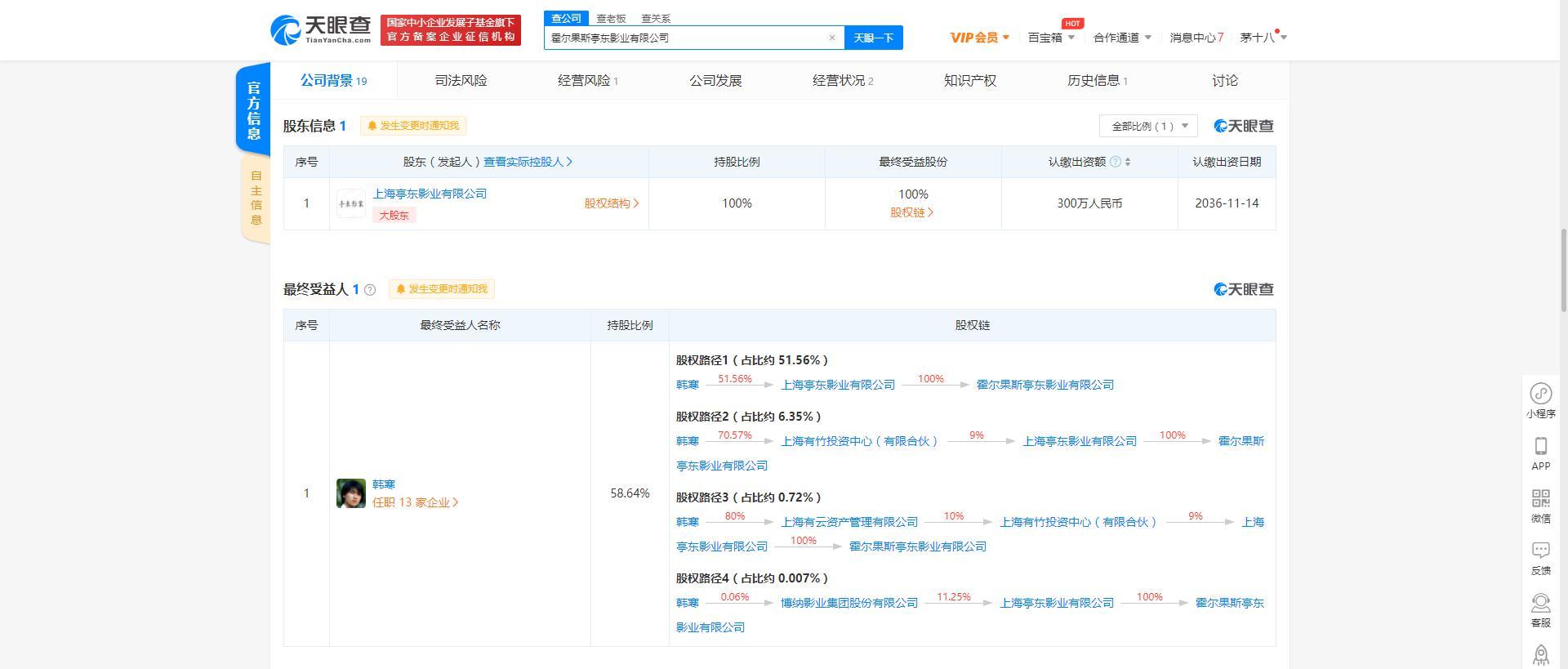 霍尔果斯亭东影业有限公司注销 最终受益人为韩寒