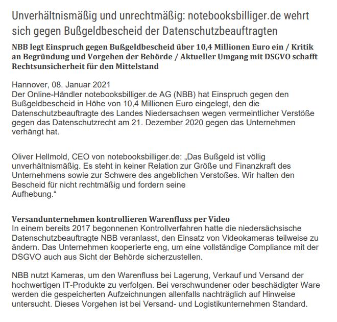 德国一电脑零售商被罚款8000万元 因用视频监控员工