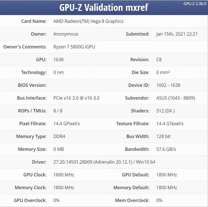 AMD 锐龙 7-5800G APU 曝光:八核 Zen 3 架构,增强型 Vega 核显