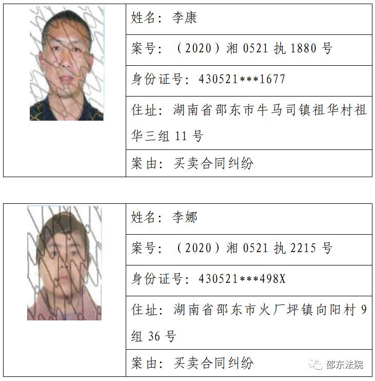 邵东市人民法院失信被执行人名单(2021年第1期)