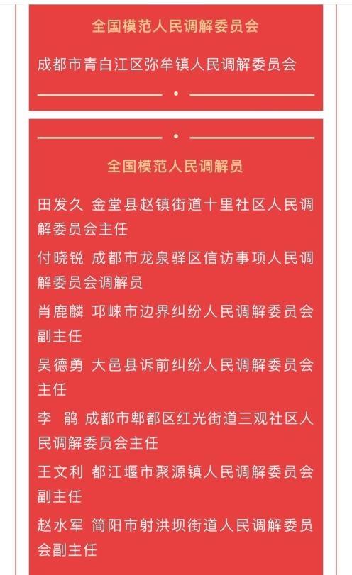 """成都市1个集体7名个人获""""全国模范人民调解委员会""""""""全国模范人民调解员""""称号"""