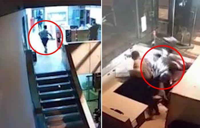 哥伦比亚一嫌疑犯逃离检察官办公室时从三楼掉下 摔在保安桌子上