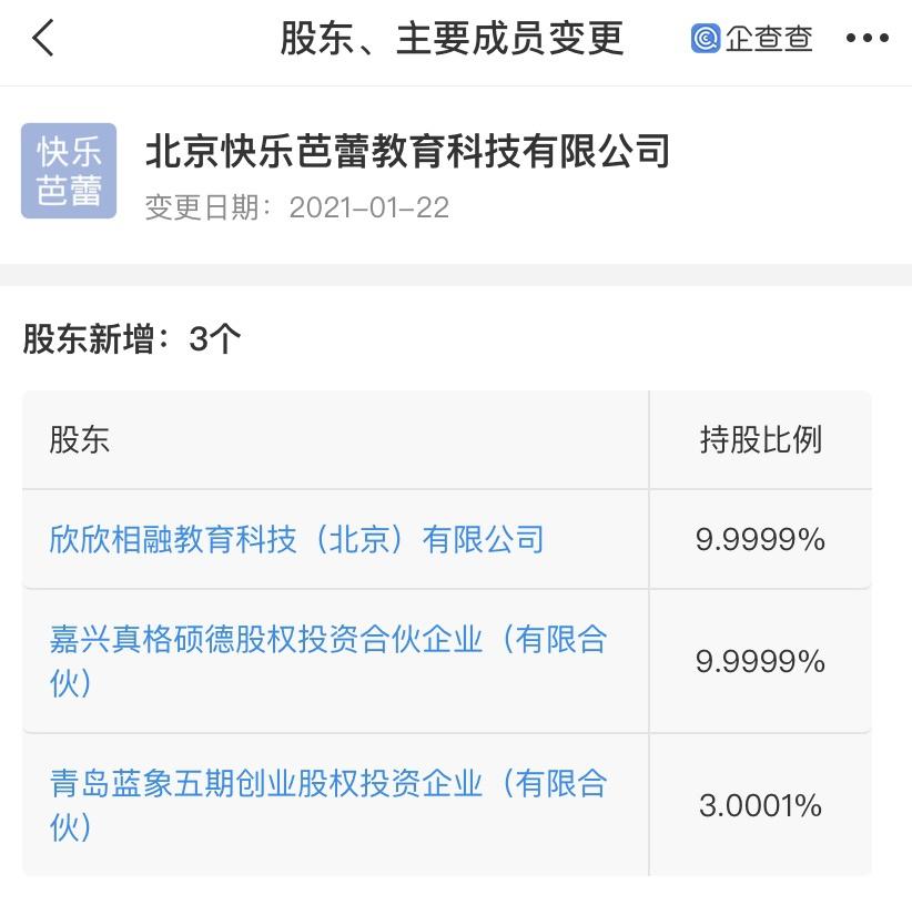 学而思关联企业入股北京快乐芭蕾教育科技有限公司