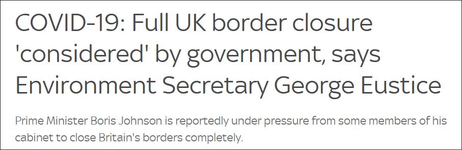 """英国环境大臣:政府内部正讨论是否""""封国"""""""