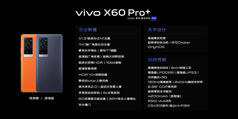 最前线 | vivo发布专业影像旗舰X60 Pro+:蔡司镜头+骁龙888,售价4998元起