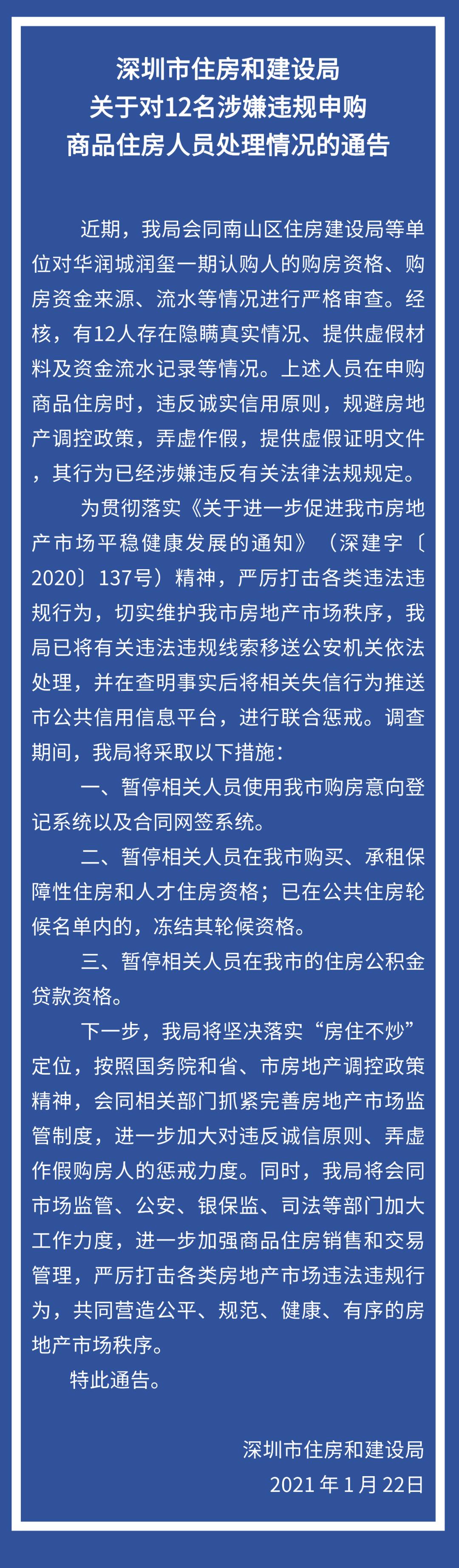 深圳市住建局:12人涉嫌违规申购商品住房,被移送公安处理