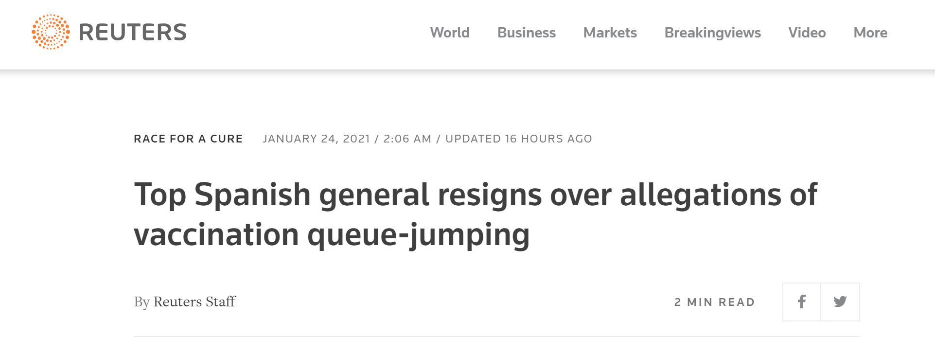 """被指责""""插队""""接种新冠疫苗后,西班牙总参谋长辞职"""