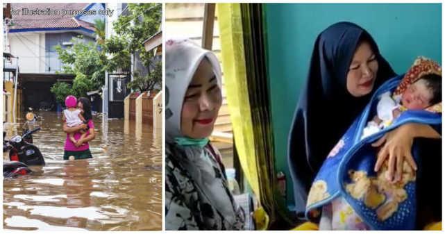 印尼发洪水,临盆孕妇被迫乘船去医院,却没忍住水上生女儿