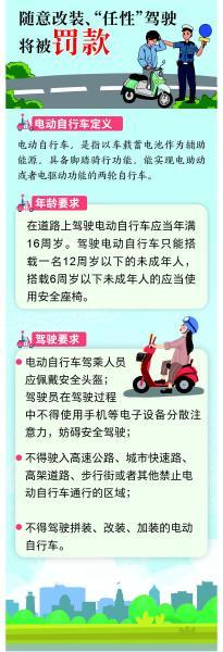 骑电动自行车要戴安全头盔,违规载人、逆行将被罚款