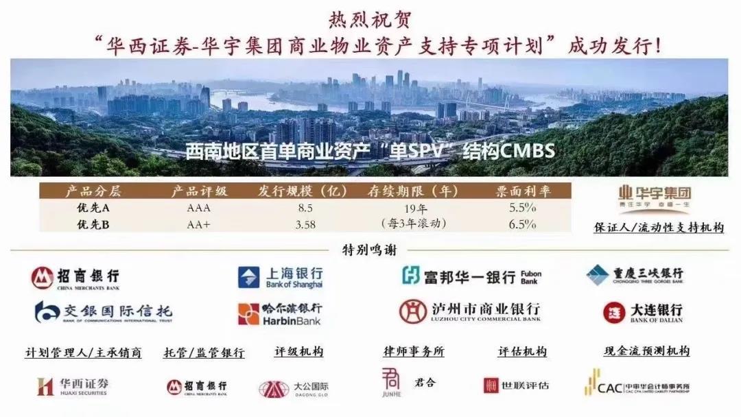 华宇集团成功发行12.08亿元资产支持专项计划 票面利率最高6.5%