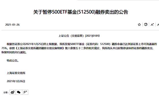 上交所暂停500ETF基金融券卖出 20日曾提示交易风险