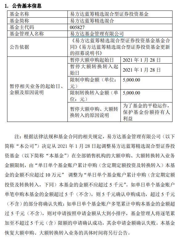 明星基金经理张坤又限购了,易方达蓝筹单日限购5000元
