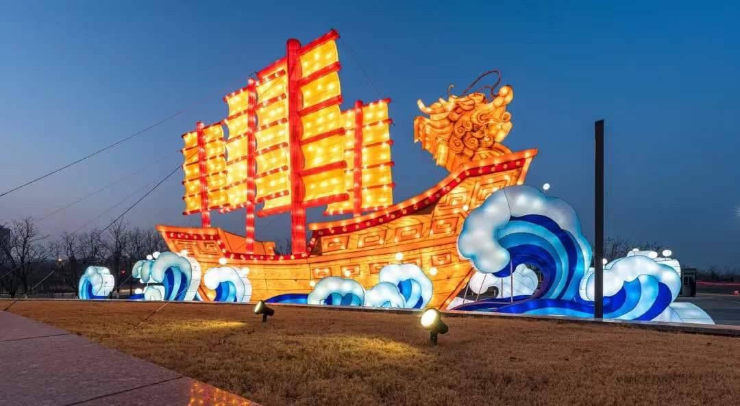 自贡彩灯点亮中铁·青岛世界博览城