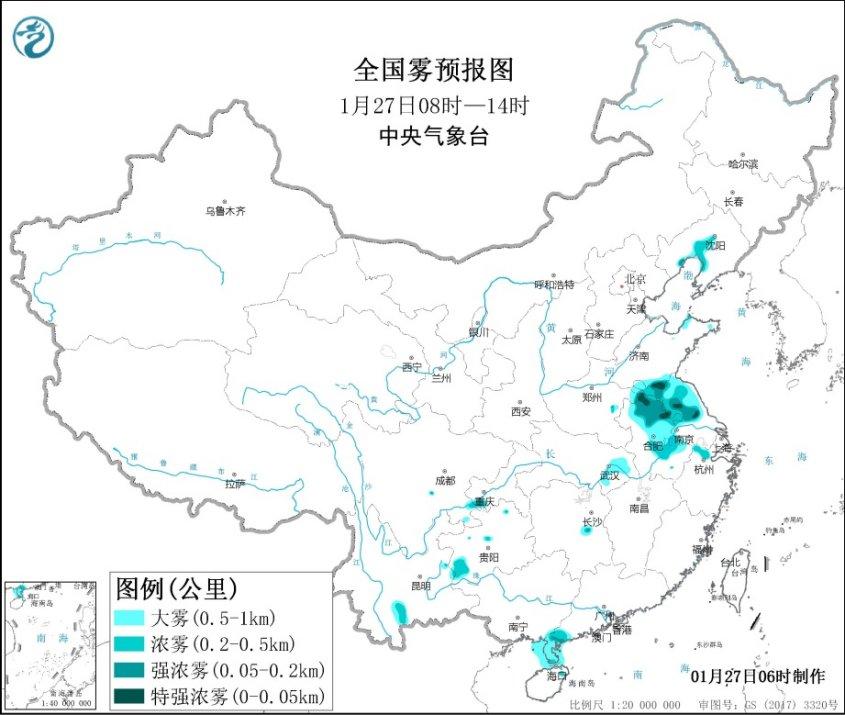 大雾黄色预警 江苏安徽等地部分地区有强浓雾图片