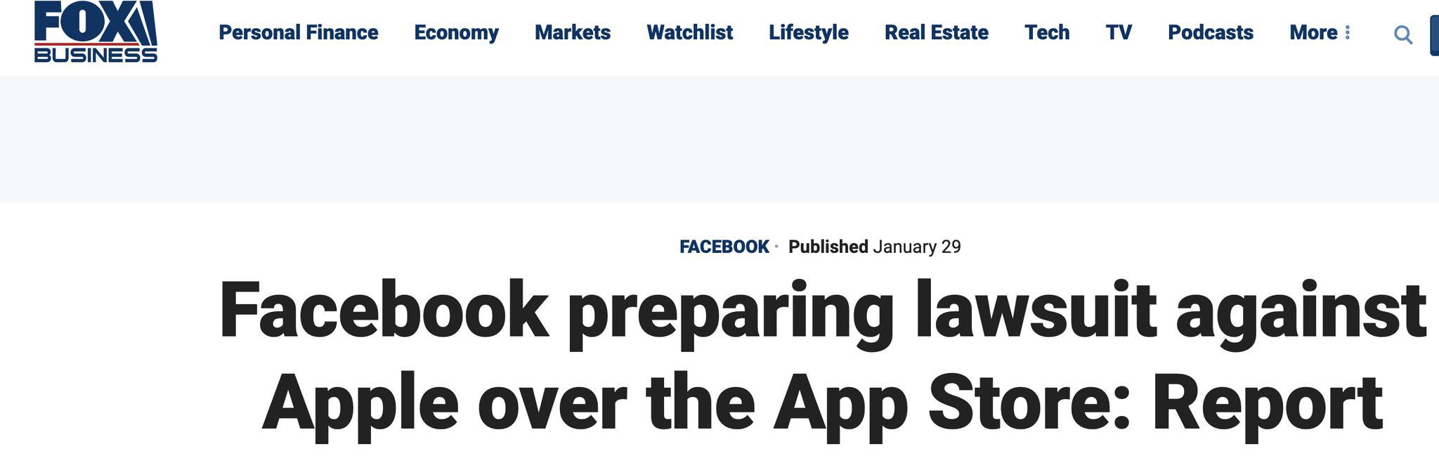 掐架?外媒:脸书将起诉苹果滥用在应用商店的权力
