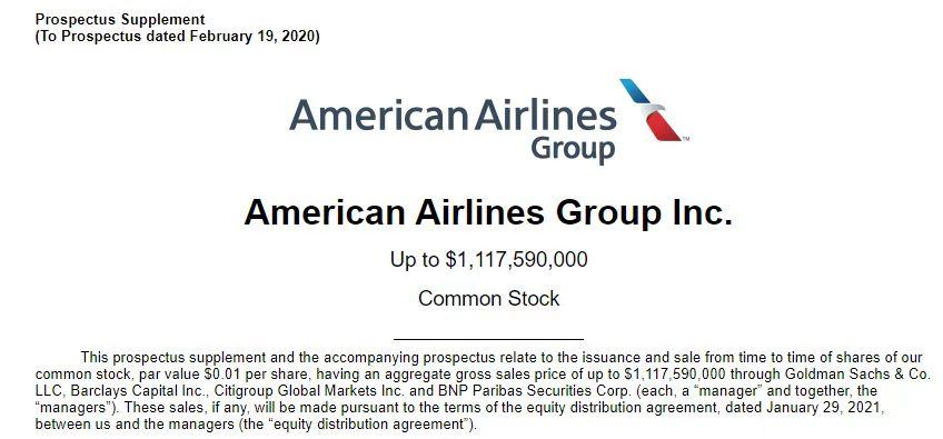 借散户哄抬股价之际 美国航空高位配售融资11亿美元