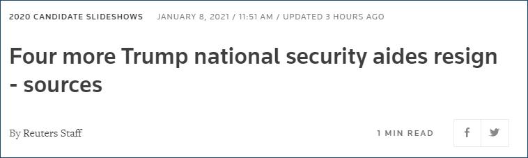 美国国会大厦动乱后,4名国安高级顾问辞职