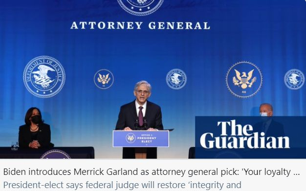 加兰或出任美国司法部长,美媒:他是拜登的第一人选
