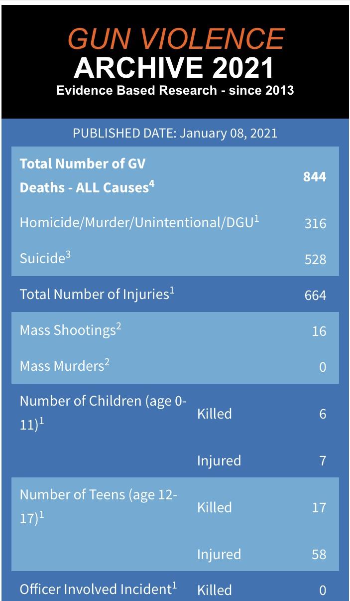 前8天 美国枪支暴力已导致844人死亡