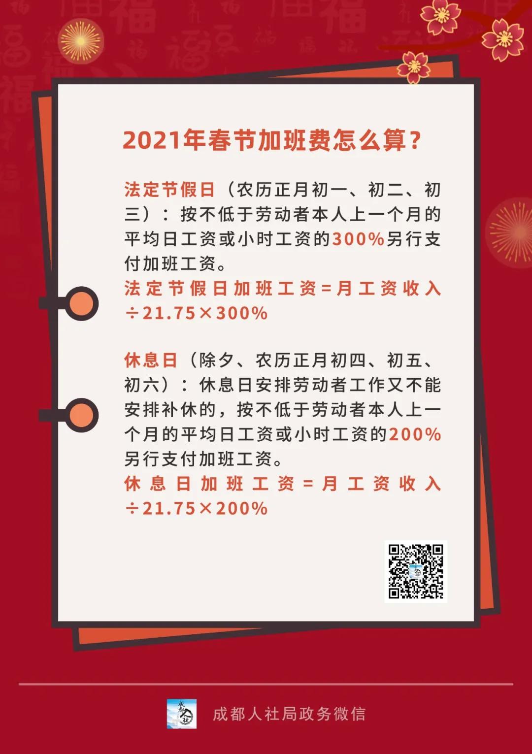 2021年春节加班费怎么算?一图弄懂