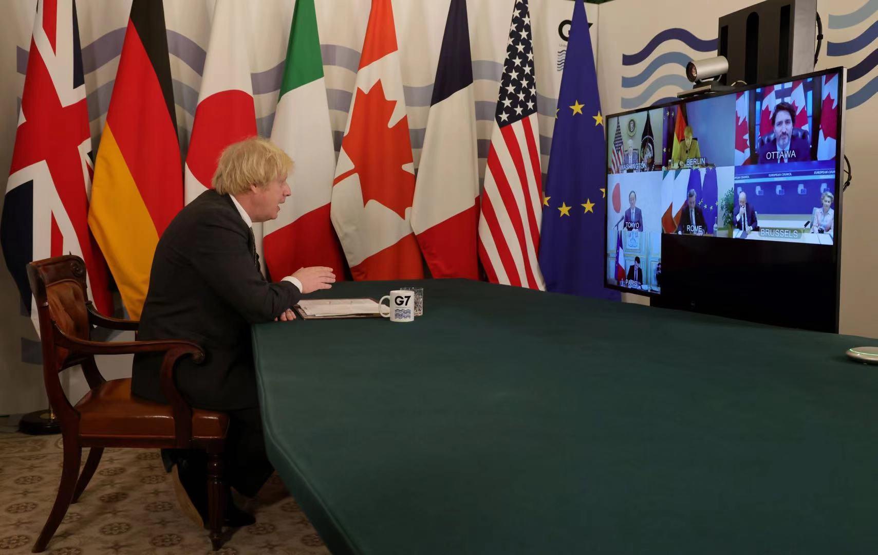 七国集团领导人视频会议召开,英国首相约翰逊主持