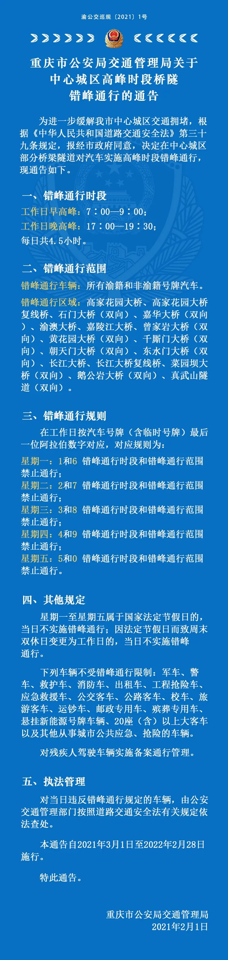 3月1日起,中心城区桥隧错峰通行!图片