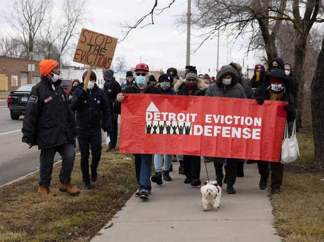 """美国底特律数百名抗议者再次聚集 举行""""反对驱逐""""游行活动"""