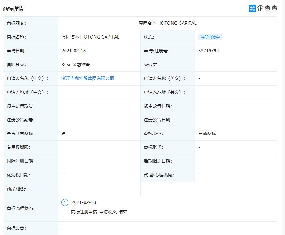 """吉利控股申请""""厚同资本 HOTONG CAPITAL""""商标"""