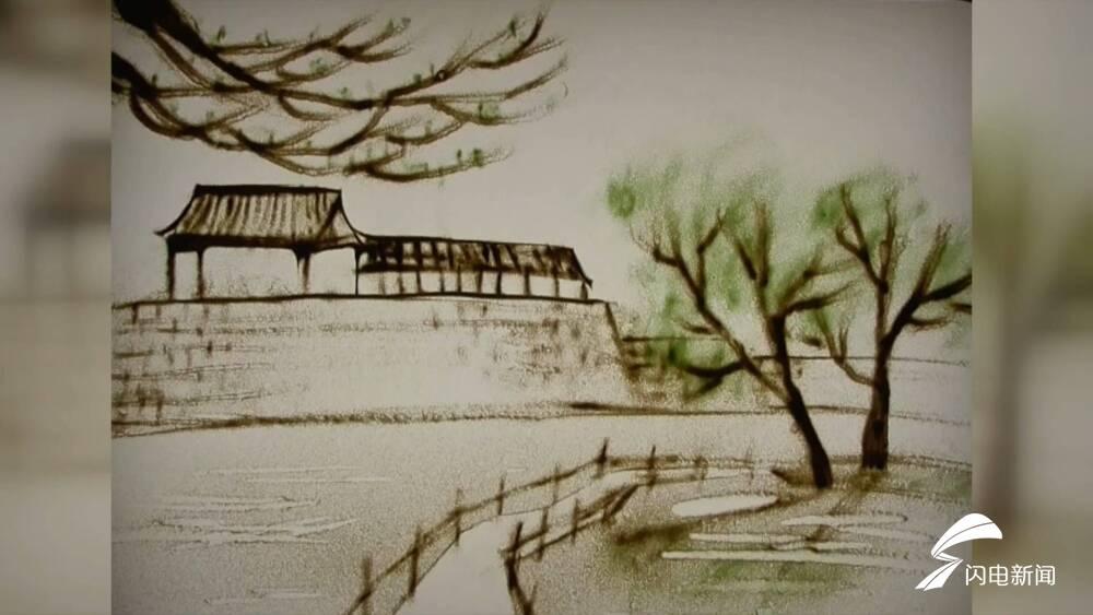 """55秒丨春景如画踏浪来 青州小学教师沙画演绎""""指尖上的春天"""""""