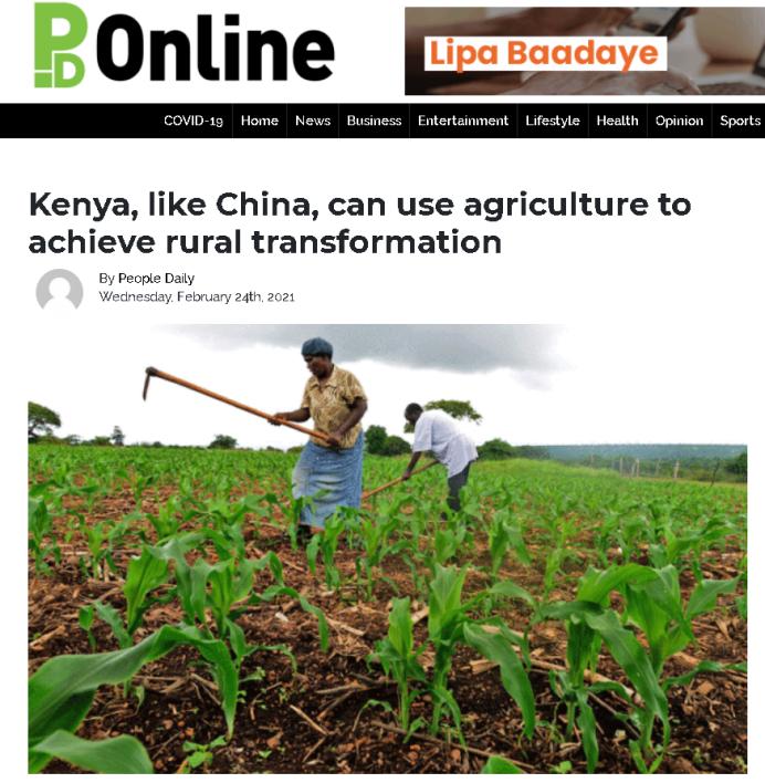 肯尼亚媒体:肯尼亚可仿效中国发展农业实现减贫