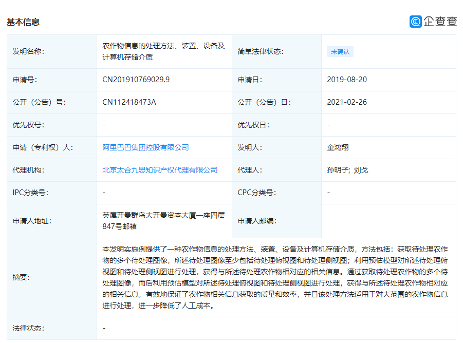 """阿里巴巴关联公司申请公开""""农作物信息的处理方法""""相关专利"""