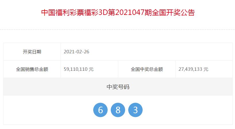 中国福彩3D全国开奖公告(第2021047期)