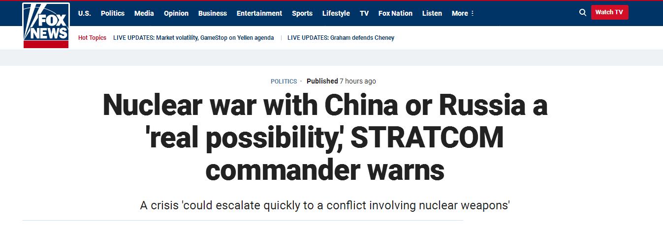 美国与中俄爆发核战争?美军战略司令部司令语出惊人