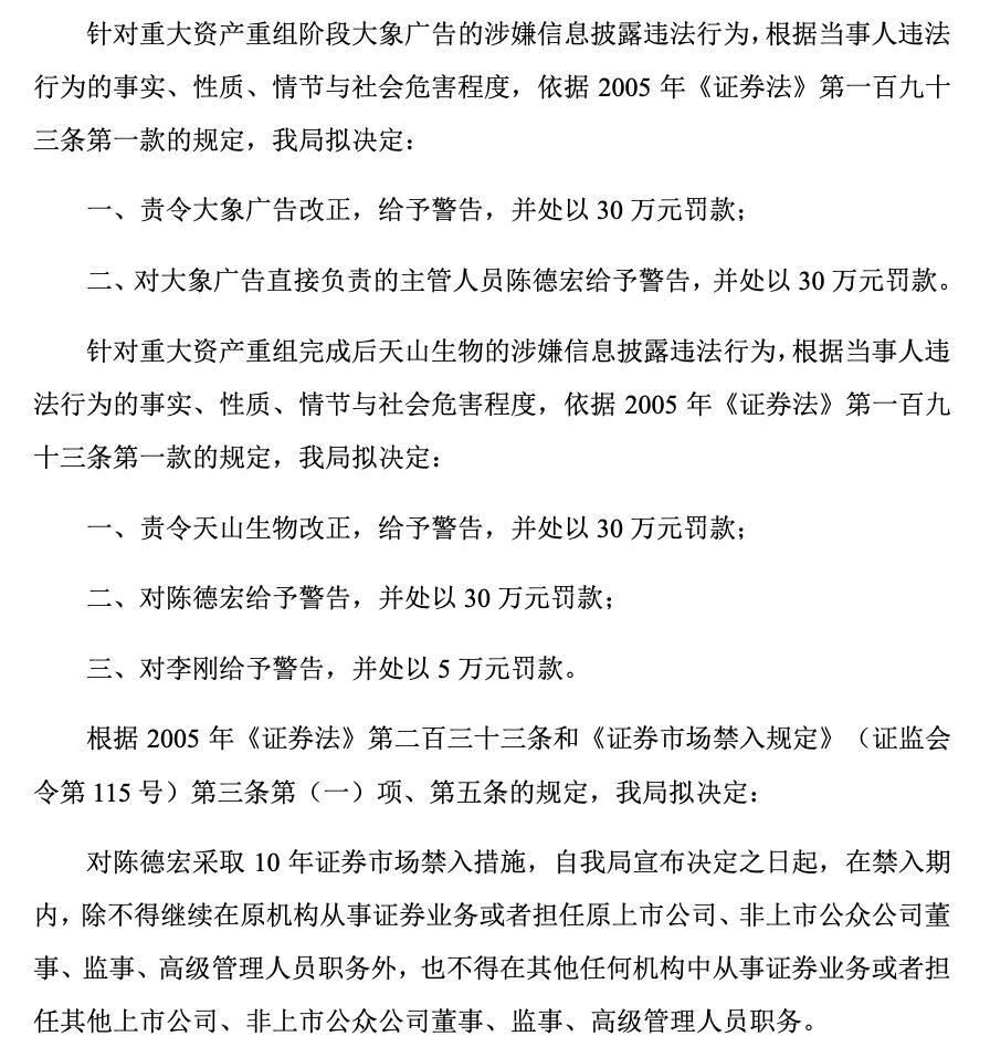 天山生物原董事、大象广告原实控人陈德宏10年内禁入证券市场