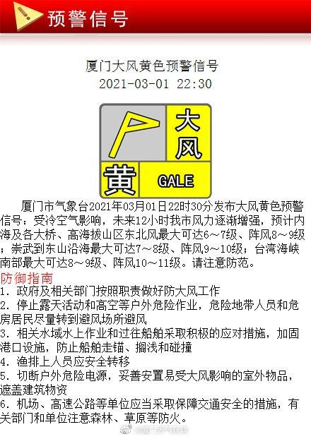 厦门市气象台03月01日22时30分发布大风黄色预警