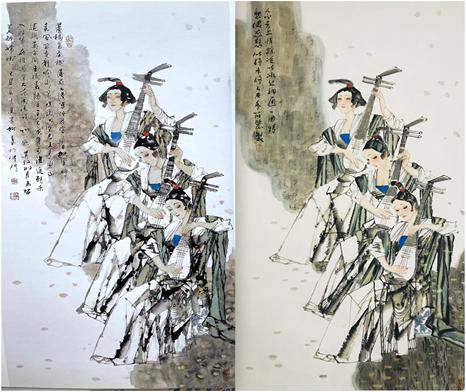 马寒松作品(左)与王筱丽作品(右)比拟。