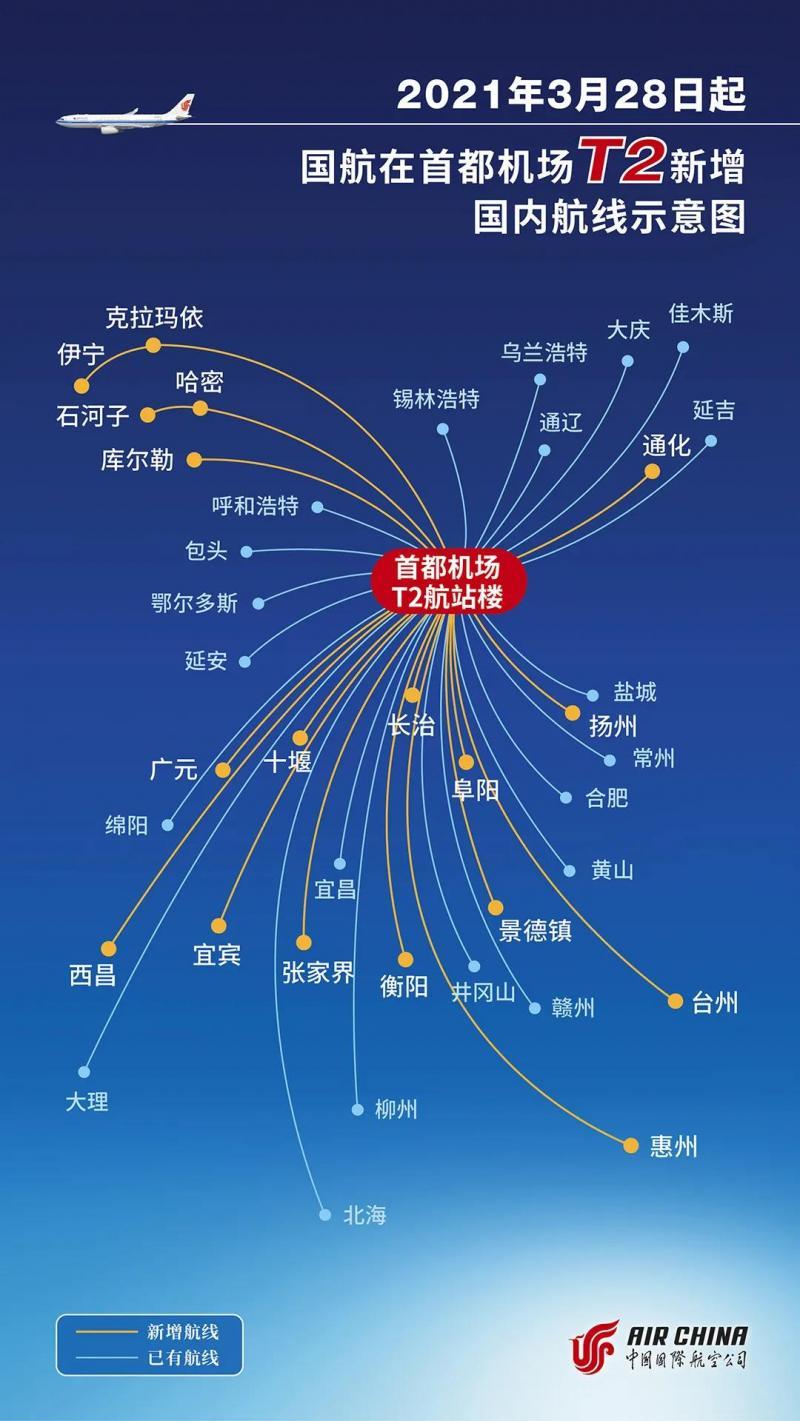 15楼财经 |  3月28日起国航18个航点将转场至首都机场T2航站楼运行