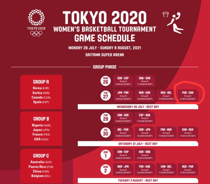 东京奥运会公布女篮赛程:中国女篮首战对手波多黎各!