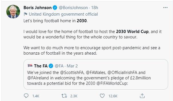 """首相支持 英国2030年要带足球""""回家"""""""