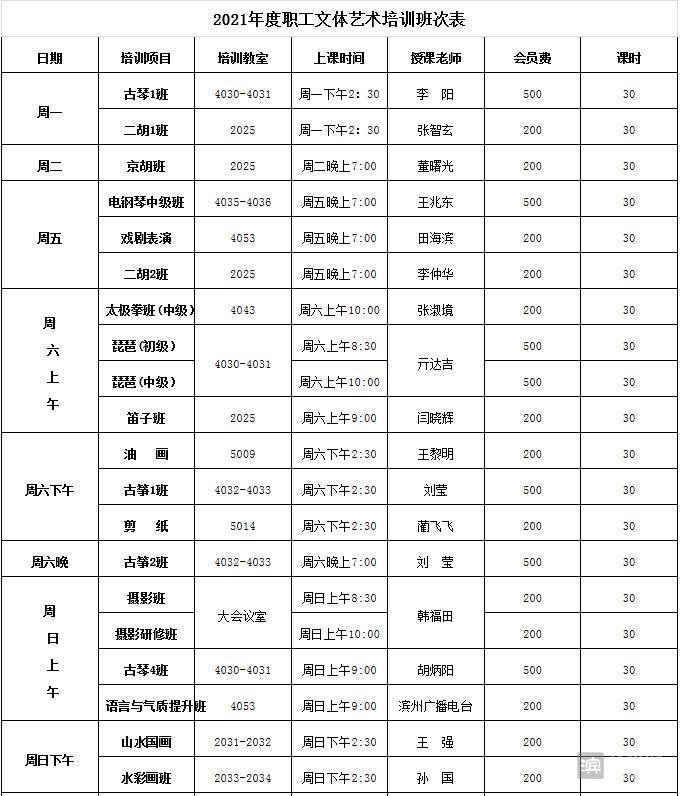 滨州市工人文化宫职工文体培训班开始补报名