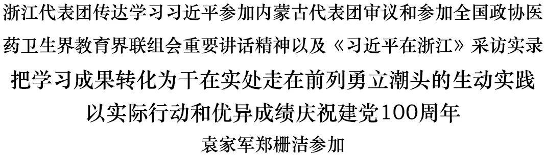 浙江代表团传达学习习近平重要讲话精神和《习近平在浙江》采访实录图片