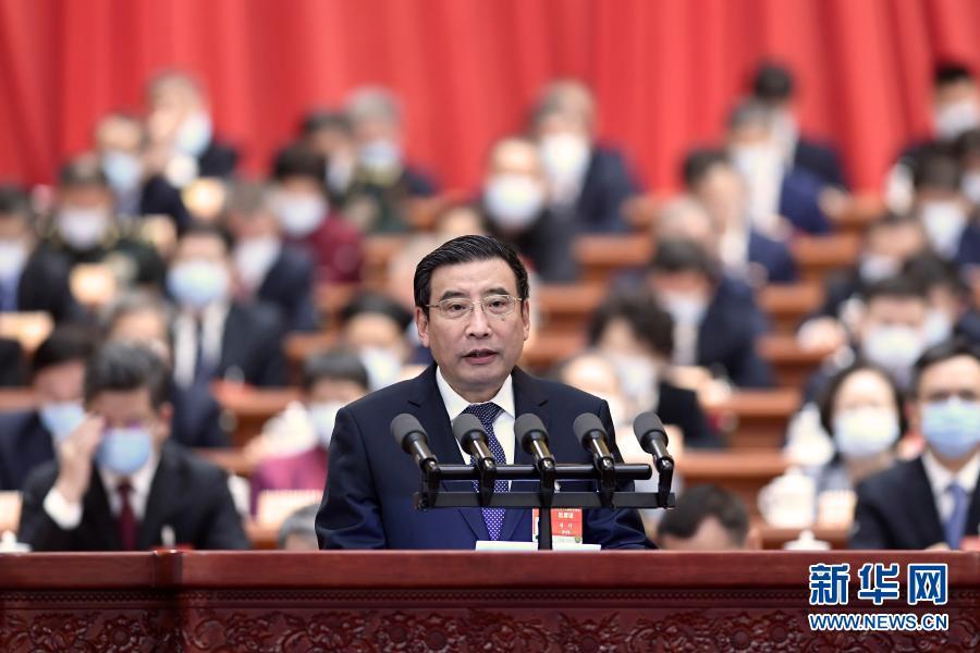3月7日,全國政協十三屆四次會議在北京人民大會堂舉行第二次全體會議。這是苗圩委員作大會發言。新華社記者 高潔 攝