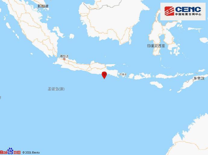 印尼爪哇岛以南海域发生6.0级地震 震源深度70千米