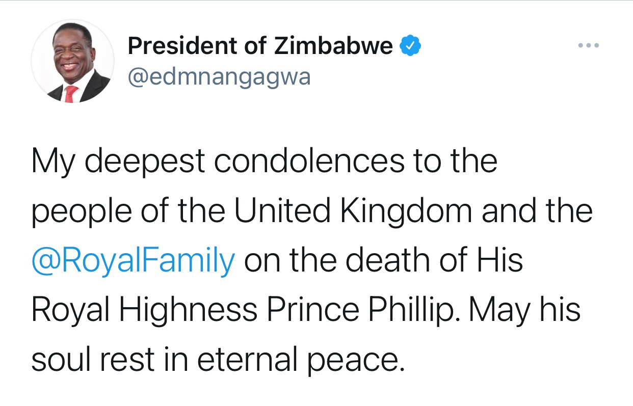 津巴布韦总统姆南加古瓦就菲利普亲王逝世表示哀悼