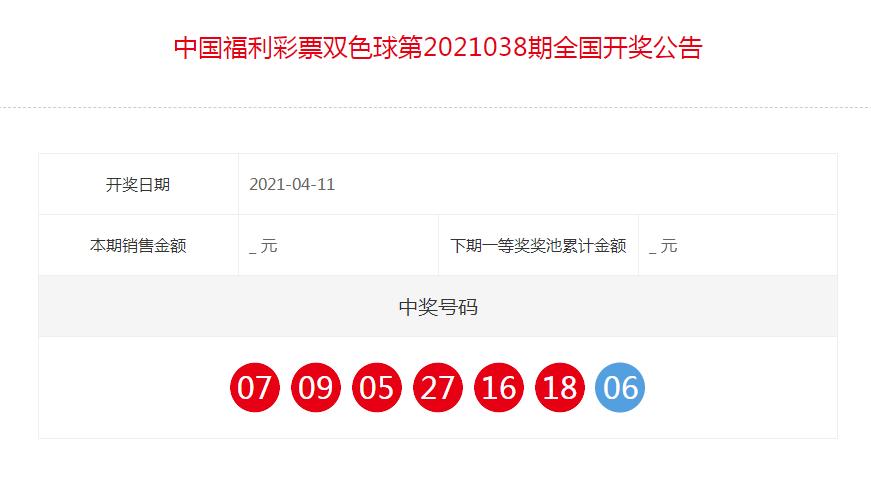 中国福利彩票双色球全国开奖公告(第2021038期)