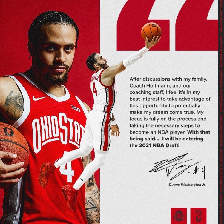 老鱼侄子小杜安-华盛顿宣布参加NBA选秀