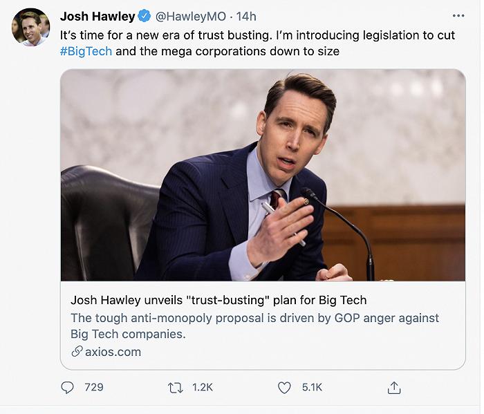 科技巨头再遭反垄断大棒,美议员寻求禁止千亿美元公司进行并购