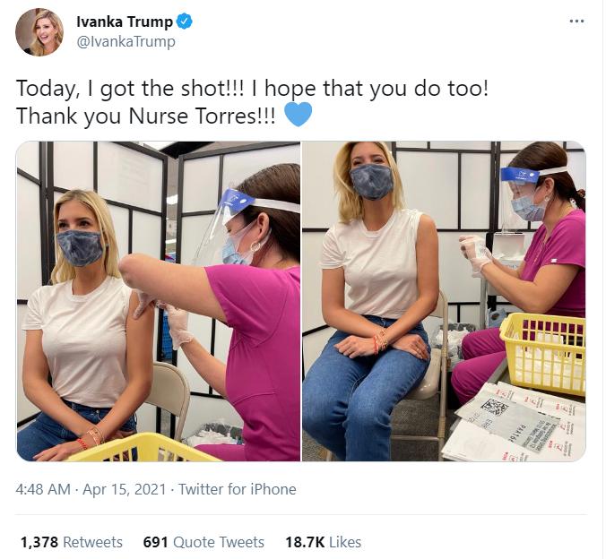 伊万卡公开接种疫苗照片