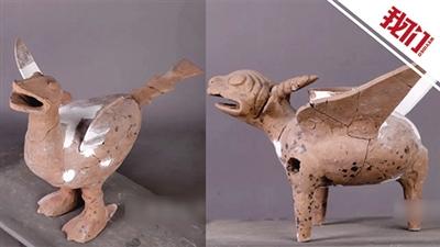 菏泽考古现场发现东周陶兽 专家表示非常罕见